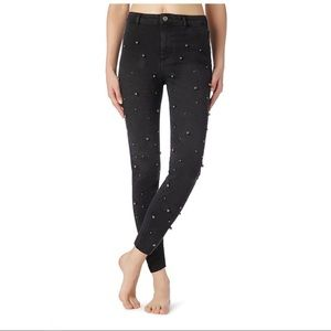CALZEDONIA JEANS WITH ALL-OVER STUD DETAIL
